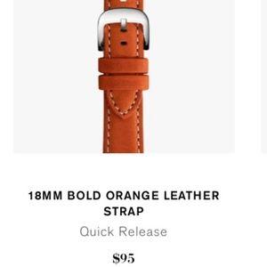 Shinola 18mm Bold Orange Leather Strap